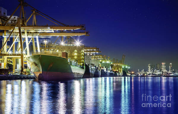 Cargo Ship Photograph - Container Cargo Freight Ship by Anek Suwannaphoom