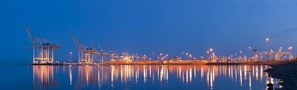 Light Box Photograph - Container Port, Canada by Science Photo Library