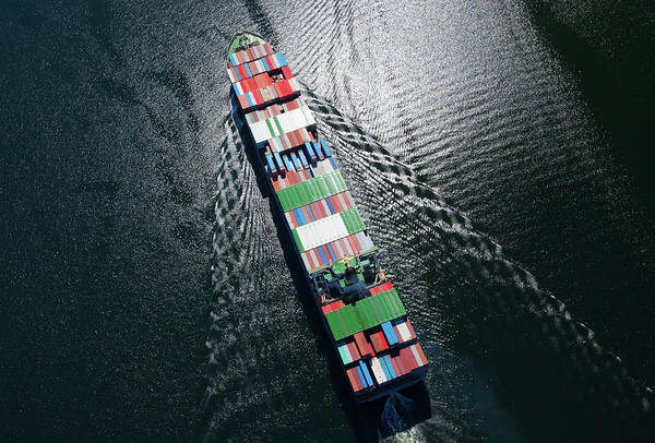 Canada Photograph - Container Ship Aerial Photo by Dan prat