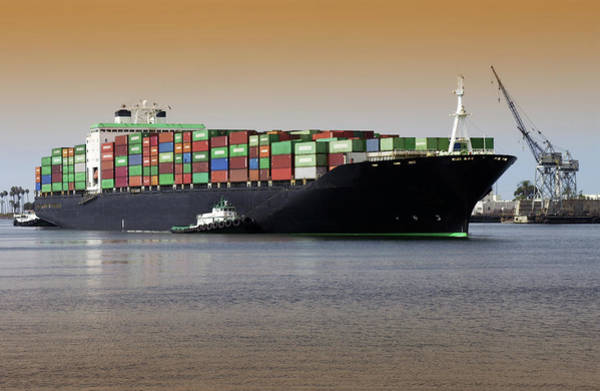 Freight Wall Art - Photograph - Container Ship And Tug Boat by Steve Allen/science Photo Library