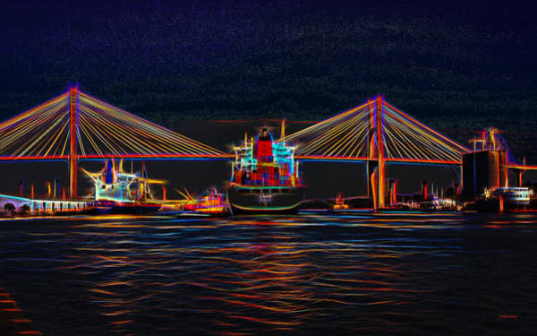 Container Ship Arriving At Savannah Art Print