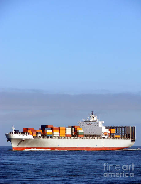 Photograph - Container Ship At Sea by Olivier Le Queinec