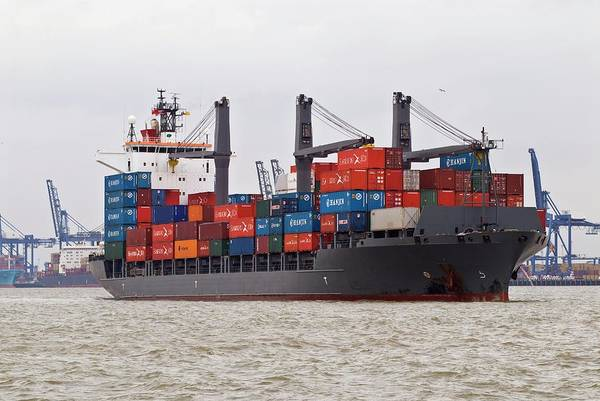 Freight Transport Wall Art - Photograph - Container Ship by Chris Sattlberger/science Photo Library