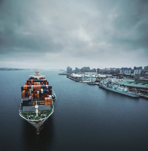 Halifax Wall Art - Photograph - Container Ship In Halifax Harbour by Shaunl