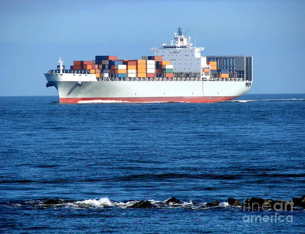 Photograph - Container Ship by Olivier Le Queinec