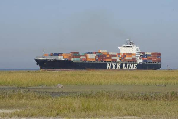 Photograph - Container Ship On A Georgia Marsh. by Bradford Martin