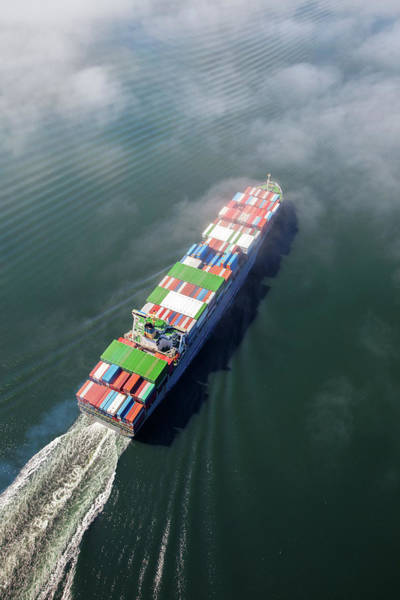 Freight Transport Wall Art - Photograph - Container Ship Sailing Into Fog by Dan prat