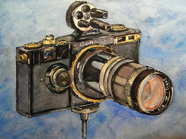 Camera Wall Art - Painting - Contax I by Juan  Bosco