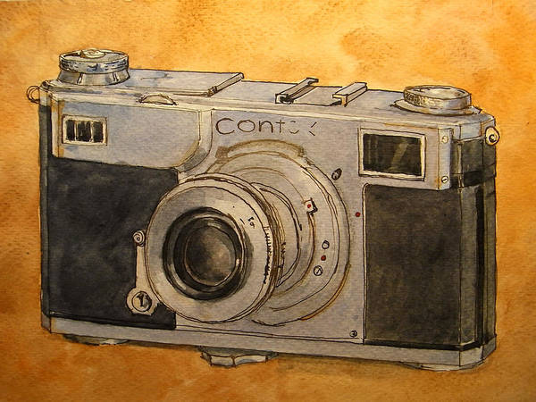 Camera Wall Art - Painting - Contax II by Juan  Bosco