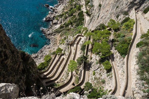 Photograph - Contemplating Mediterranean Vacations - Via Krupp Capri Island Italy by Georgia Mizuleva