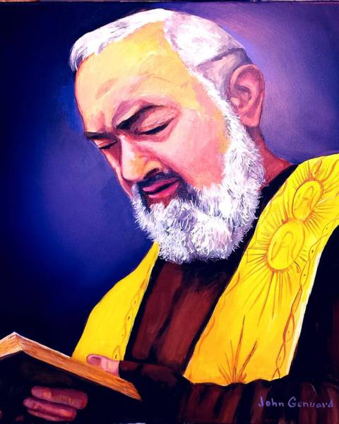 Padre Pio Wall Art - Painting - Contemplation by John Genuard