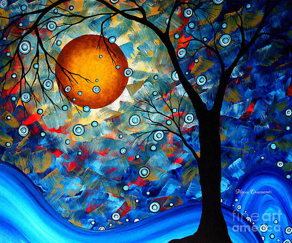 Red Moon Painting - Contemporary Modern Art Original Abstract Landscape Painting Blue Essence By Megan Duncanson by Megan Duncanson