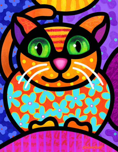 Painting - Contented Cat by Steven Scott