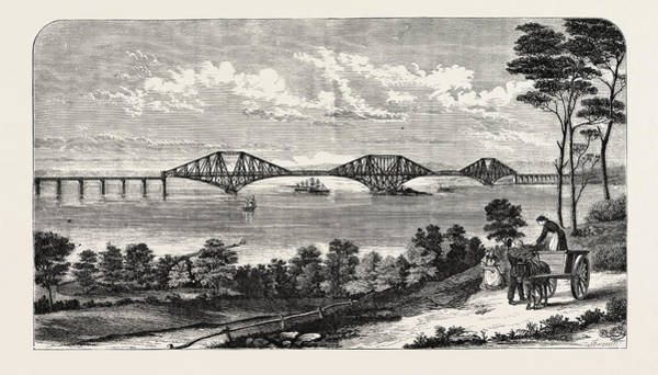 Steel Drawing - Continuous Steel Girder Bridge To Cross The Firth Of Forth by Mr. John Fowler And Benjamin Baker, English School
