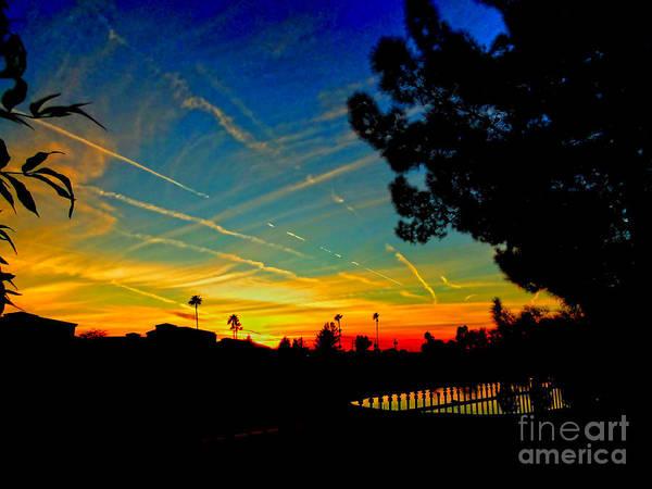 Yuma Photograph - Contrail Sunset In Yuma by Al Bourassa