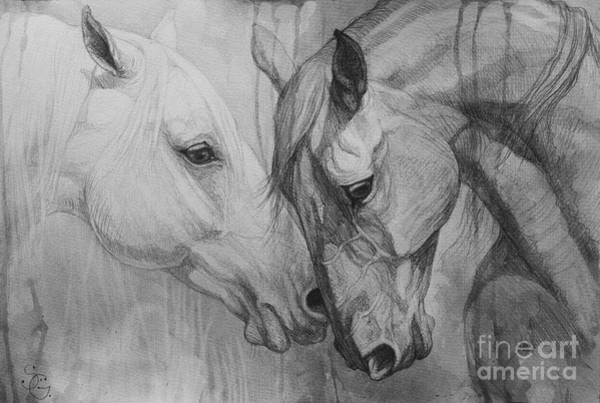 White Horse Painting - Conversation I by Silvana Gabudean Dobre