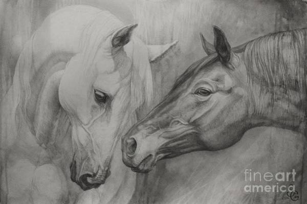 Black And White Horse Wall Art - Painting - Conversation Ill by Silvana Gabudean Dobre