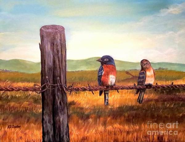 Fencepost Painting - Conversation With A Fencepost by Kimberlee Baxter