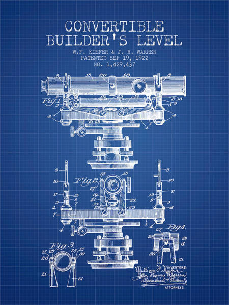 Wall Art - Digital Art - Convertible Builders Level Patent From 1922 -  Blueprint by Aged Pixel