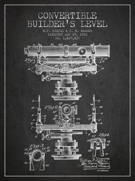 Wall Art - Digital Art - Convertible Builders Level Patent From 1922 -  Charcoal by Aged Pixel