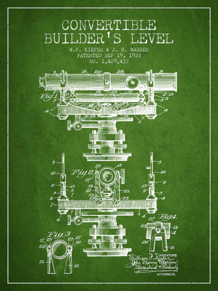 Wall Art - Digital Art - Convertible Builders Level Patent From 1922 -  Green by Aged Pixel