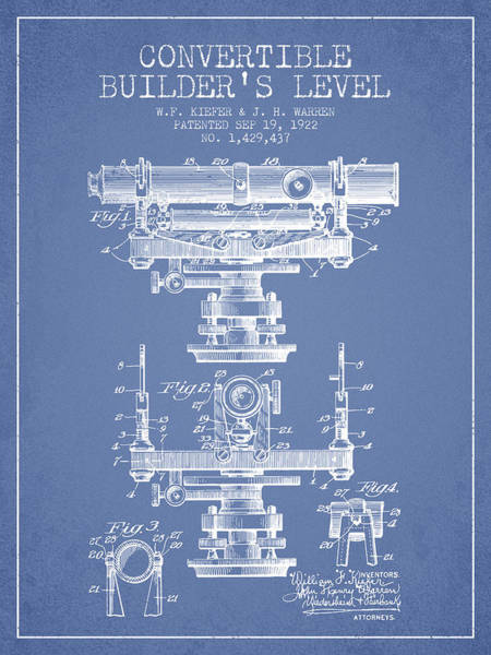 Wall Art - Digital Art - Convertible Builders Level Patent From 1922 -  Light Blue by Aged Pixel