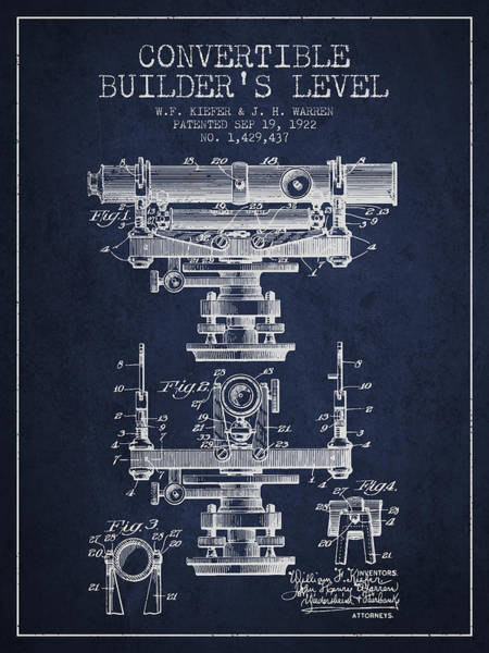 Wall Art - Digital Art - Convertible Builders Level Patent From 1922 -  Navy Blue by Aged Pixel