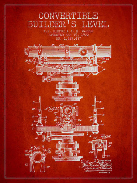 Wall Art - Digital Art - Convertible Builders Level Patent From 1922 -  Red by Aged Pixel