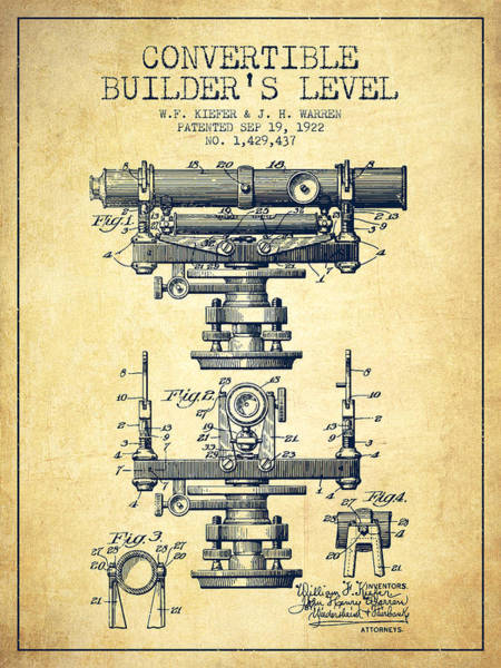 Wall Art - Digital Art - Convertible Builders Level Patent From 1922 -  Vintage by Aged Pixel