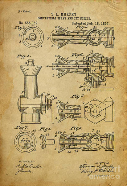 Patents Mixed Media - Convertible Spray And Jet Nozzle - Year 1896 by Drawspots Illustrations