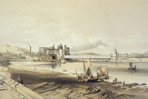 Wales Drawing - Conway Bridge, Construction Of Second by George Hawkins