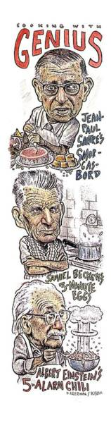 Parody Wall Art - Drawing - 'cooking With Genius' by Drew Friedman