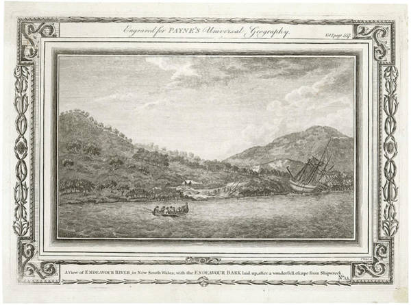New South Wales Drawing - Cook's Bark 'endeavour'  Beached by Mary Evans Picture Library