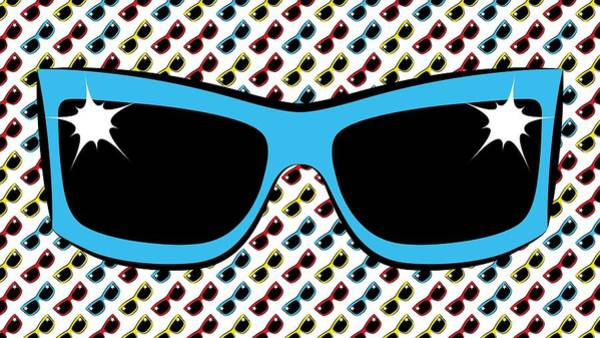 Digital Art - Cool 90's Sunglasses Blue by MM Anderson