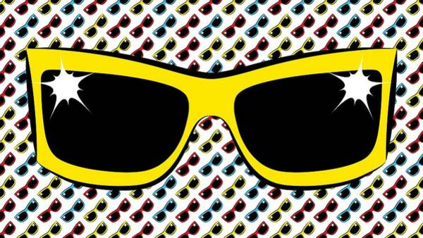 Digital Art - Cool 90's Sunglasses Yellow by MM Anderson