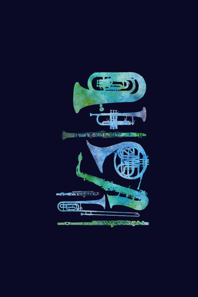 Marching Band Painting - Cool Blue Band by Jenny Armitage