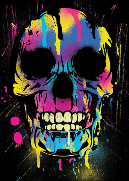 Steaks Digital Art - Cool Colorful Skull With Paint Splatters And Drips by Denis Marsili