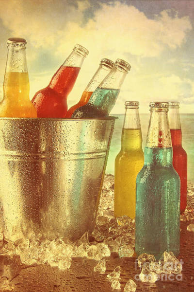 Photograph - Cool Drinks In Ice Bucket At The Beach With Vintage Look by Sandra Cunningham
