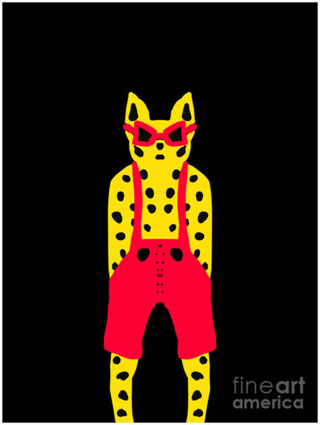 Cool For Cats In Red Dungarees Art Print