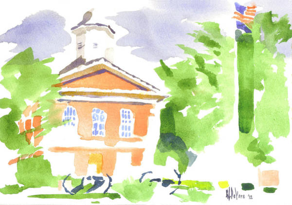Painting - Cool Greens And Reds At The Courthouse by Kip DeVore
