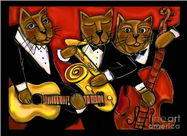 Sax Painting - Cool Jazz Cats by Cynthia Snyder