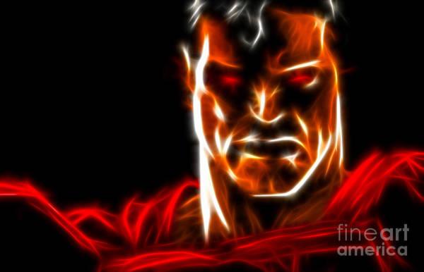 Super Hero Mixed Media - Superman Intimidating Look by Pamela Johnson