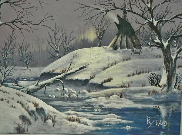 Painting - Cool Winter Eve by Ray Nutaitis