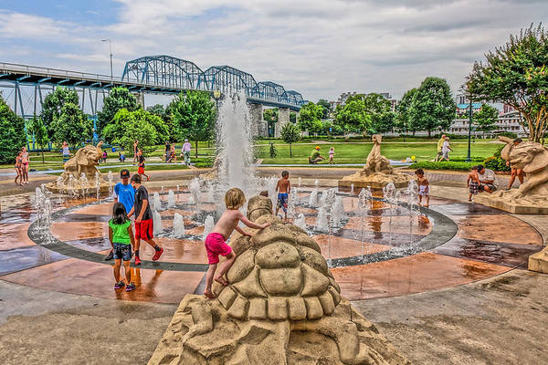 Photograph - Coolidge Park Fountain  by Tom and Pat Cory