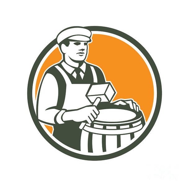 Drum Circle Wall Art - Digital Art - Cooper Barrel Maker Drum Retro Circle by Aloysius Patrimonio