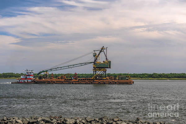 Photograph - Cooper River Barge Traffic by Dale Powell