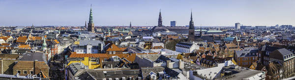 Copenhagen Spires And Rooftops Panorama Over Central Cityscape Denmark Art Print by fotoVoyager