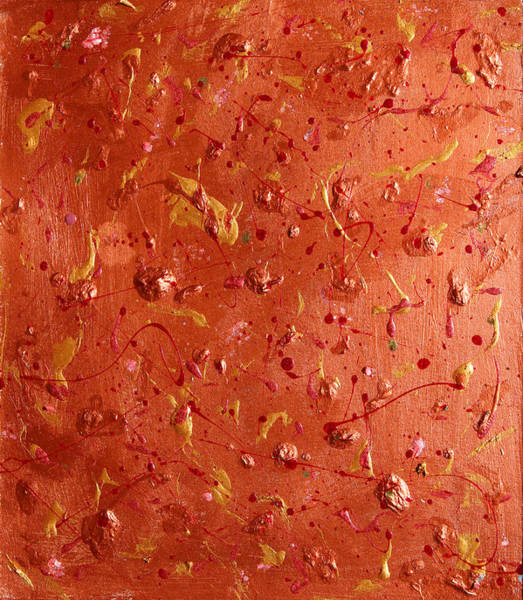 Painting - Copper Abstract Triptych Part 3 by Julia Apostolova