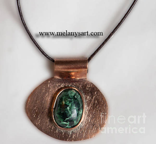 Jewelry - Copper And Malachite Pendant by Melany Sarafis