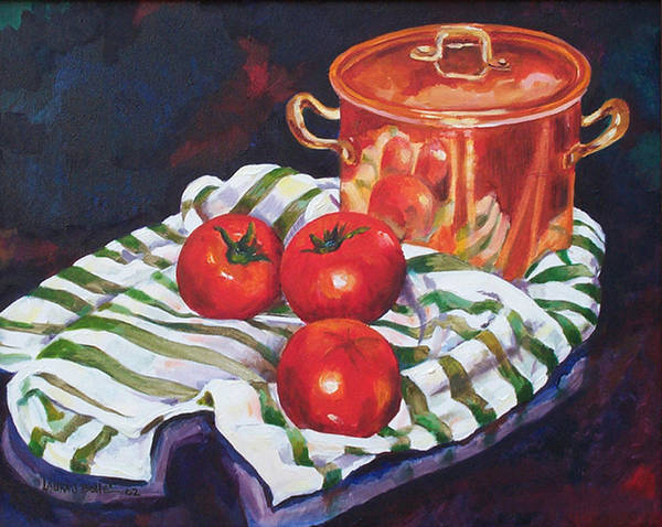 Lid Painting - Copper And Tomatoes  by Laura Bolle